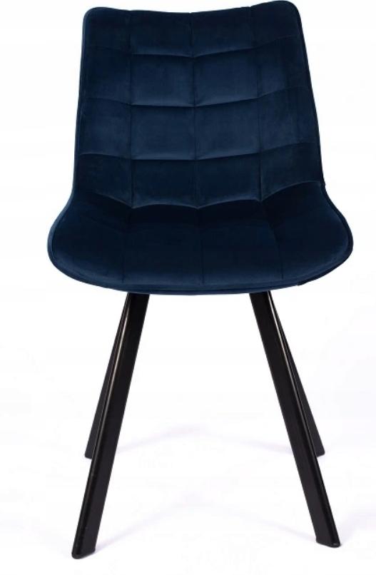 Krzesło Tapicerowane Pikowane Granatowe Welur Marka Luxury4Home
