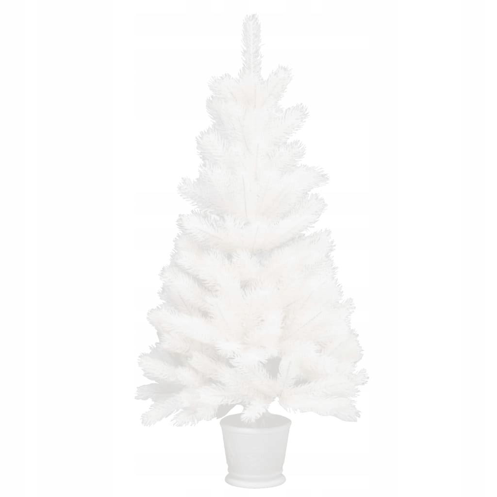 Umelý vianočný stromček s črepníkom, biely, 90 cm, PE