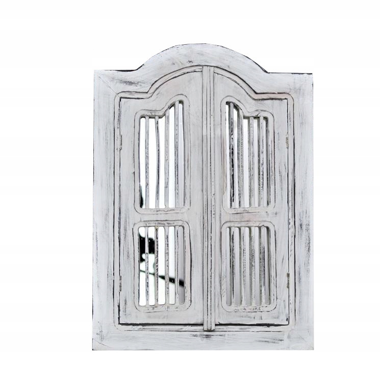 Zrkadlové žalúzie, masívne drevo, sivé a biele retro