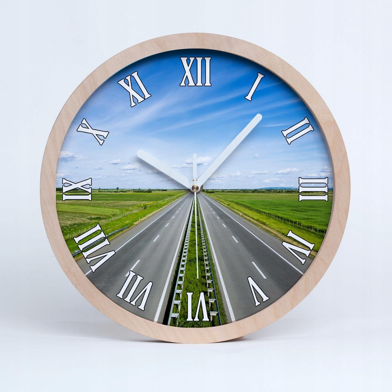Duży drewno cichy zegar ścienny autostrada fi 30