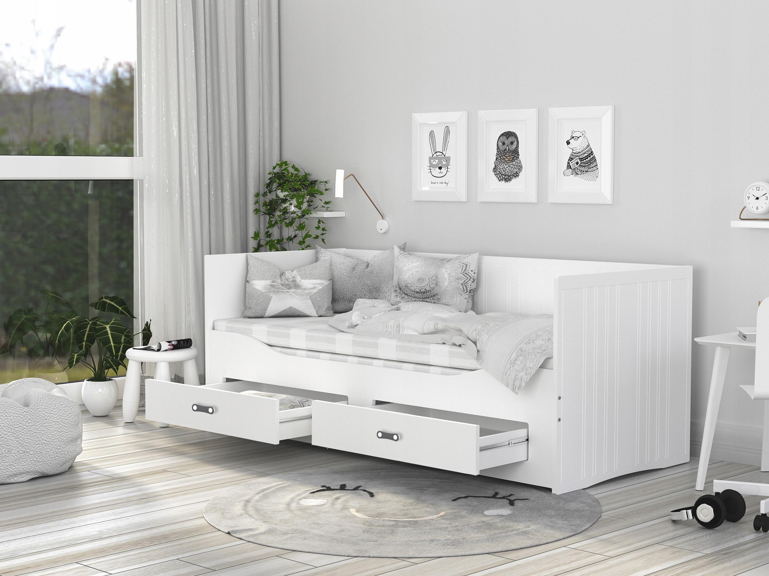Łóżko rozkładane HERMES materace szuflady białe Marka AJKmeble