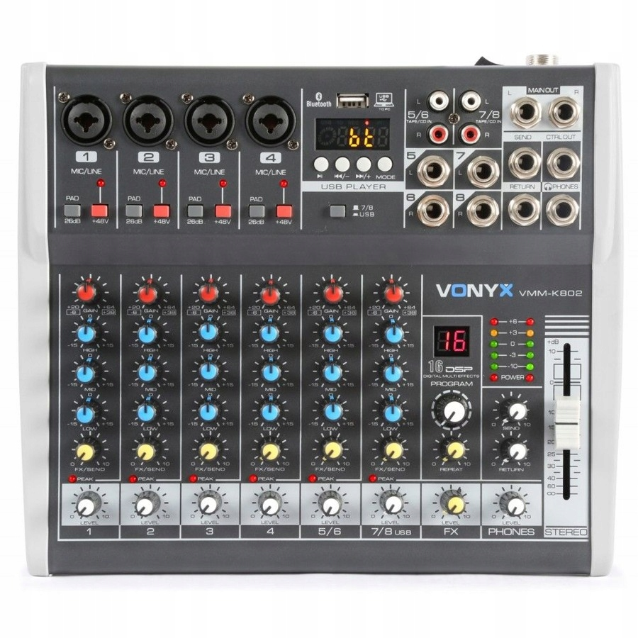 Item Mixer 8-channel VMMK-802 XLR Phantom USB BT DSP