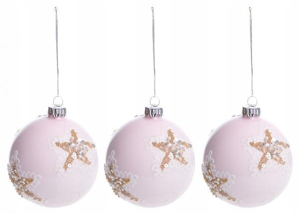 24h vianočná guľa Glamour ružové hviezdičky na vianočný stromček, 3 ks