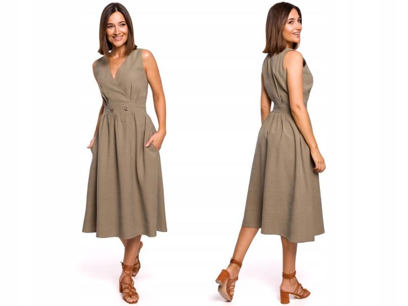 Sukienka bez rękawów Rozkloszowany dół 40 L