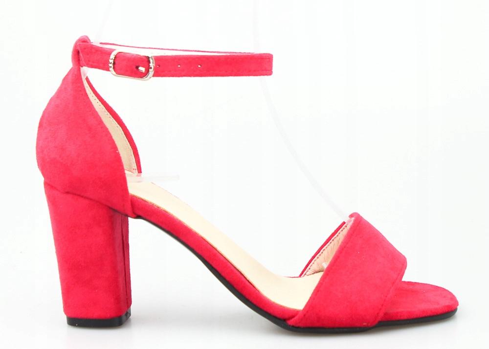 Czerwone Sandały Damskie Na Słupku Optimo 36