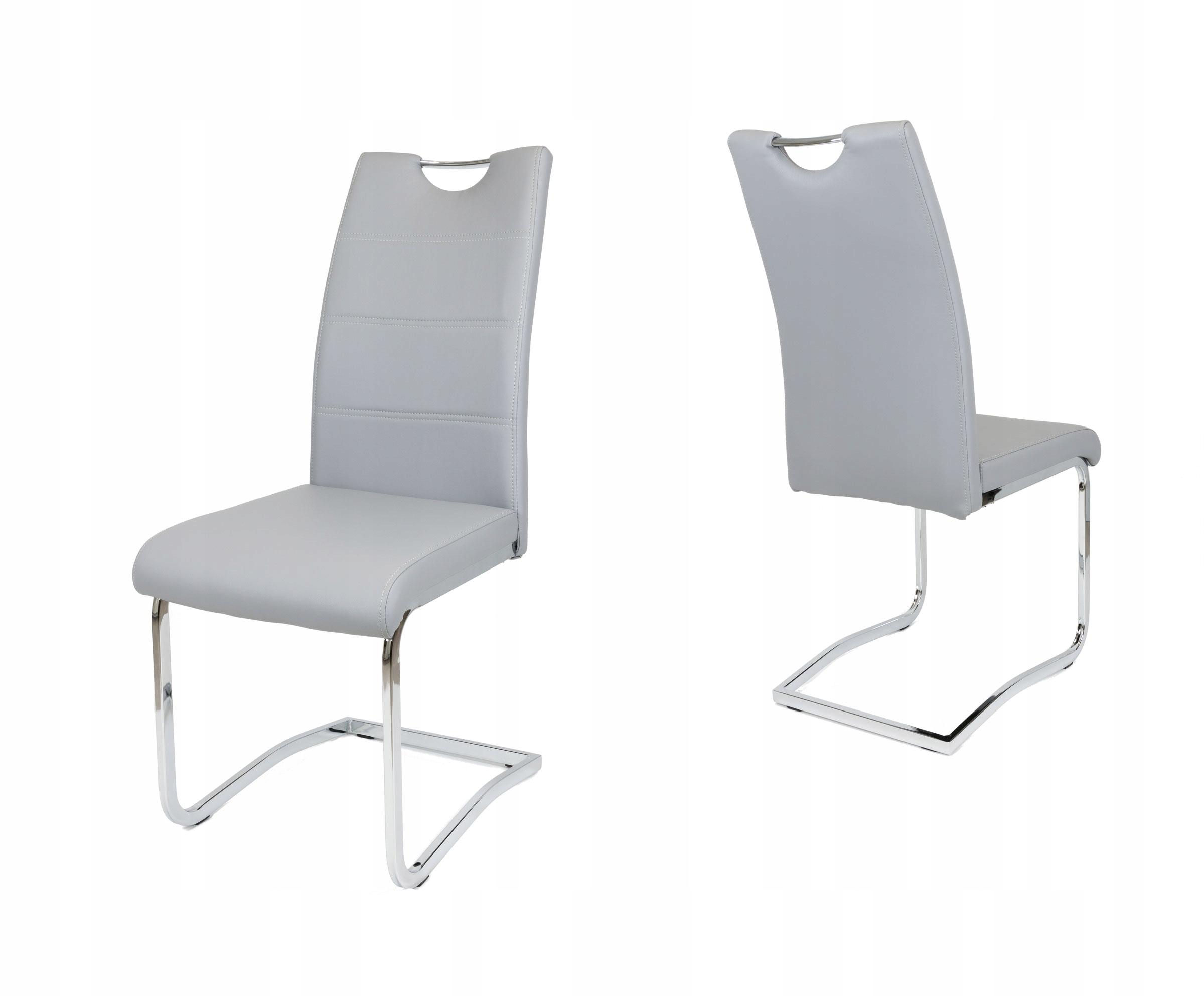 Szare krzesło do kuchni chrom bujak KS030 SZ