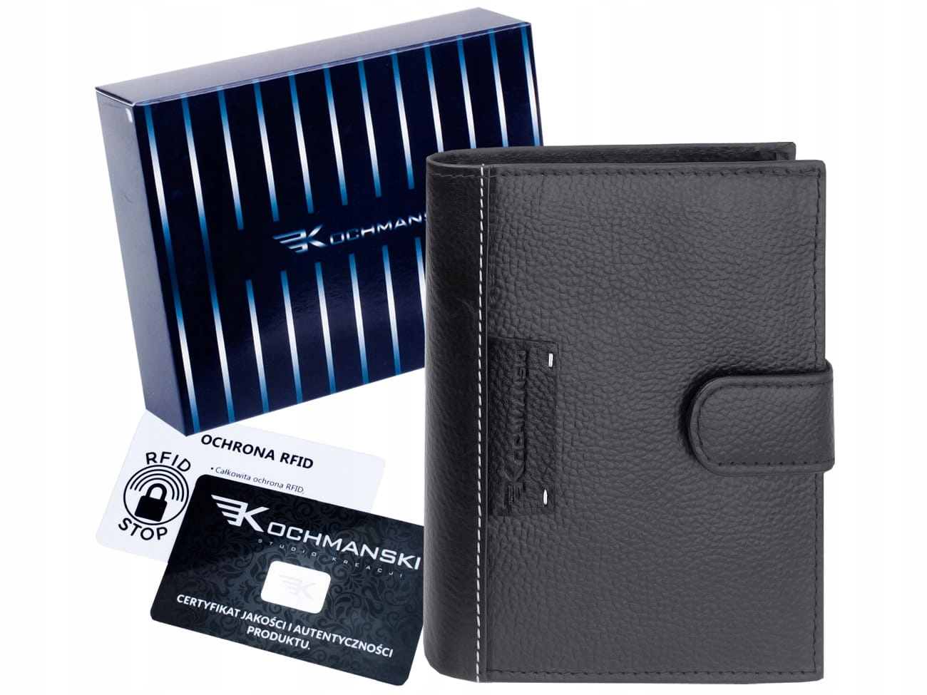 Кожаный кошелек для мужчин KOCHMANSKI RFID кожа большая