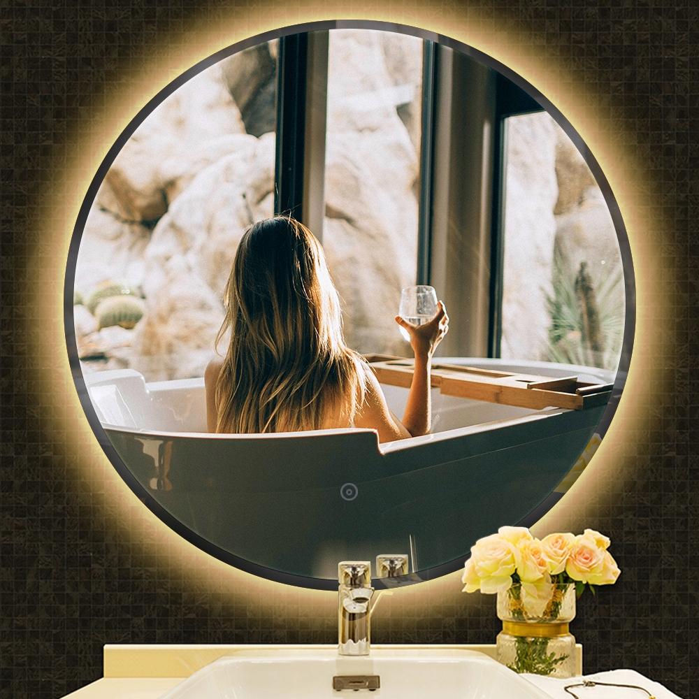 Okrúhle kúpeľňové LED zrkadlo proti zahmlievaniu 70cm