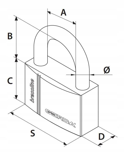 Kłódka Pałąkowa Mosiężna Gerda S50 Brass Line Typ kłódki Kłódka jarzmowa