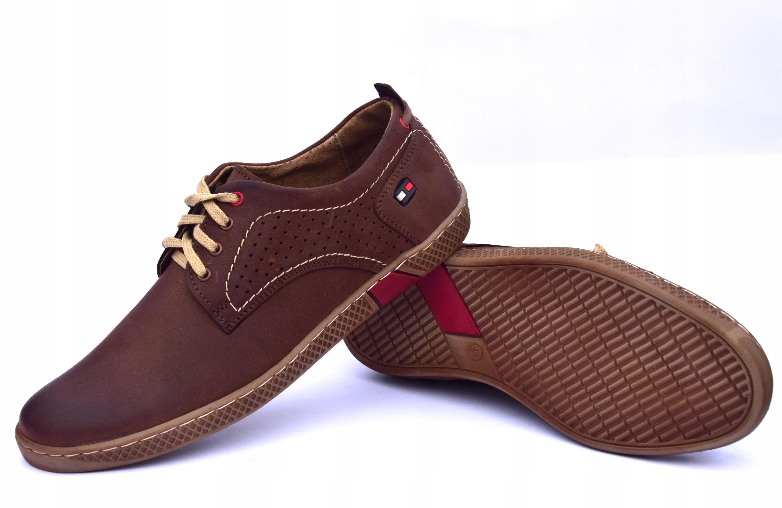 Półbuty skórzane męskie brązowe buty polskie 302 Oryginalne opakowanie producenta pudełko