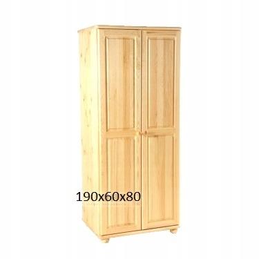 Drewniana szafa sosnowa dwudrzwiowa dzielona półki