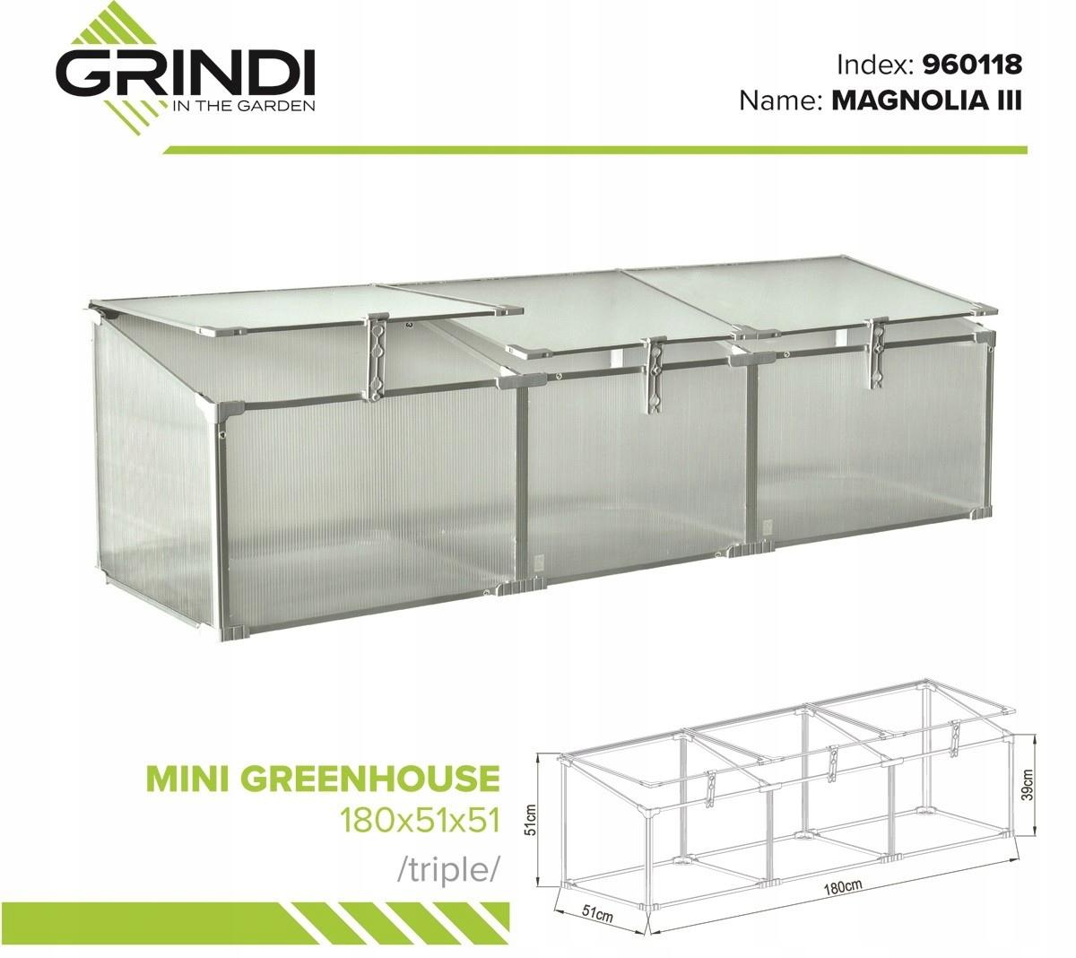 Polykarbonátový záhradný skleník - 180x51x51 - box Výrobca Grindi