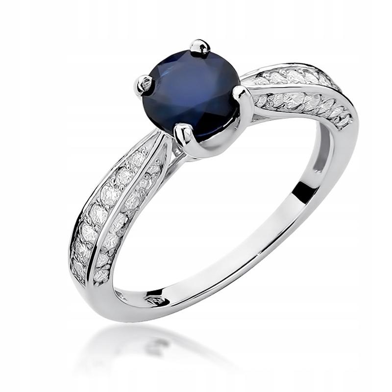 Prsteň s diamantmi 0.59 CT sapphire biele zlato