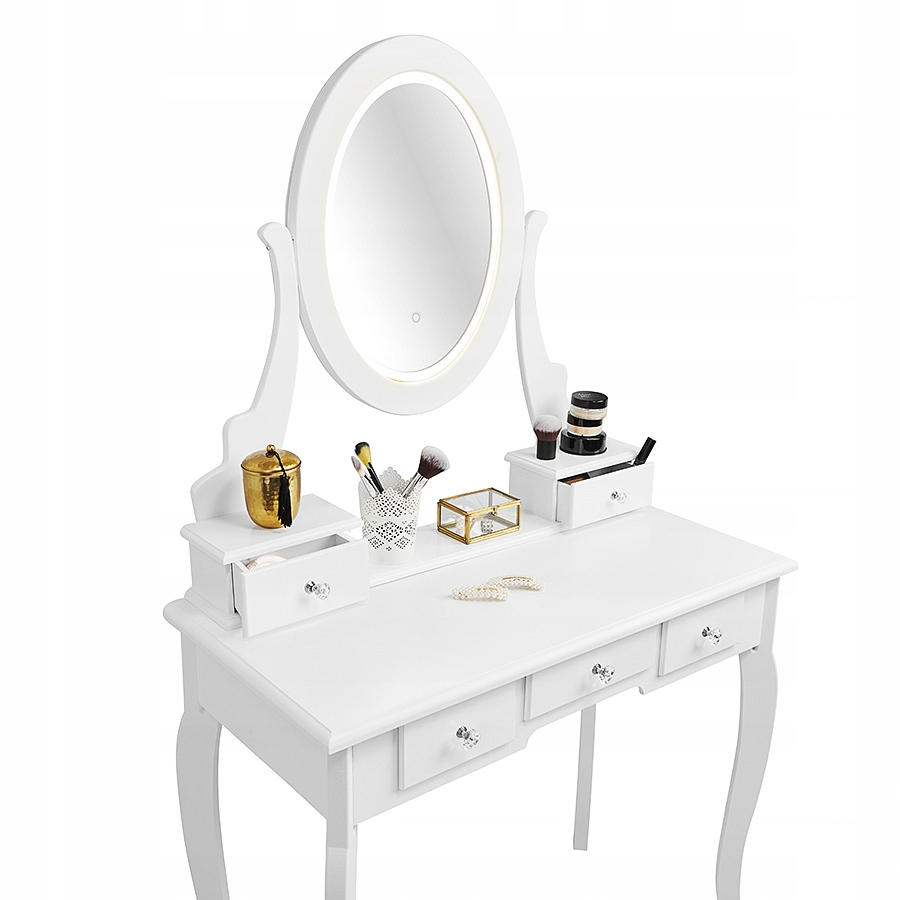 КОСМЕТИЧЕСКИЙ СТОЛ СО LED ЗЕРКАЛО БЕЛЫЙ + ТАРЕЛКА Цвет мебели белый