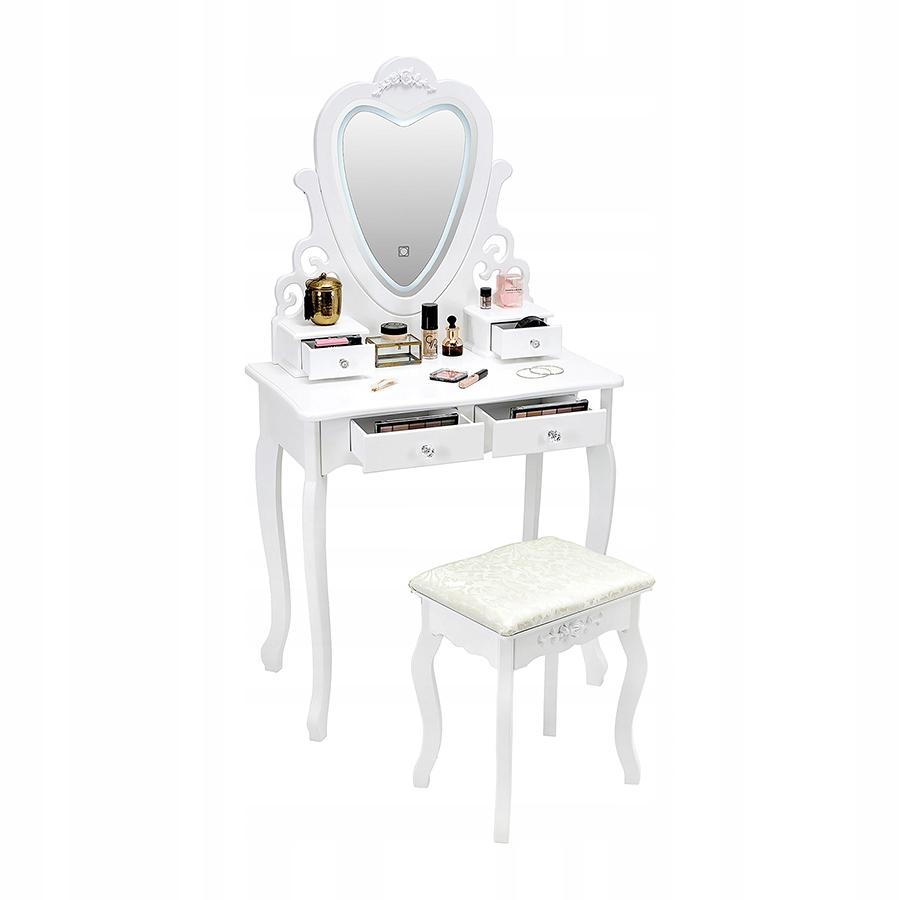 KOZMETICKÉ WC WC S LED ZRKADLOM BIELE + STOLIČKA Farba nábytku je biela