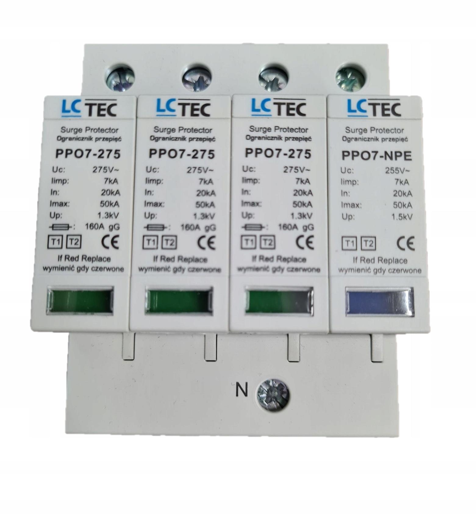 LcTec T1 + T2 (B + C) 4P ограничитель перенапряжения с искрой