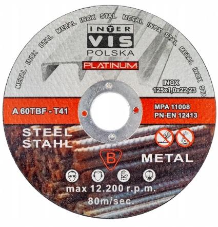 TARCZE TARCZA DO CIĘCIA METALU STALI 125x1 mm