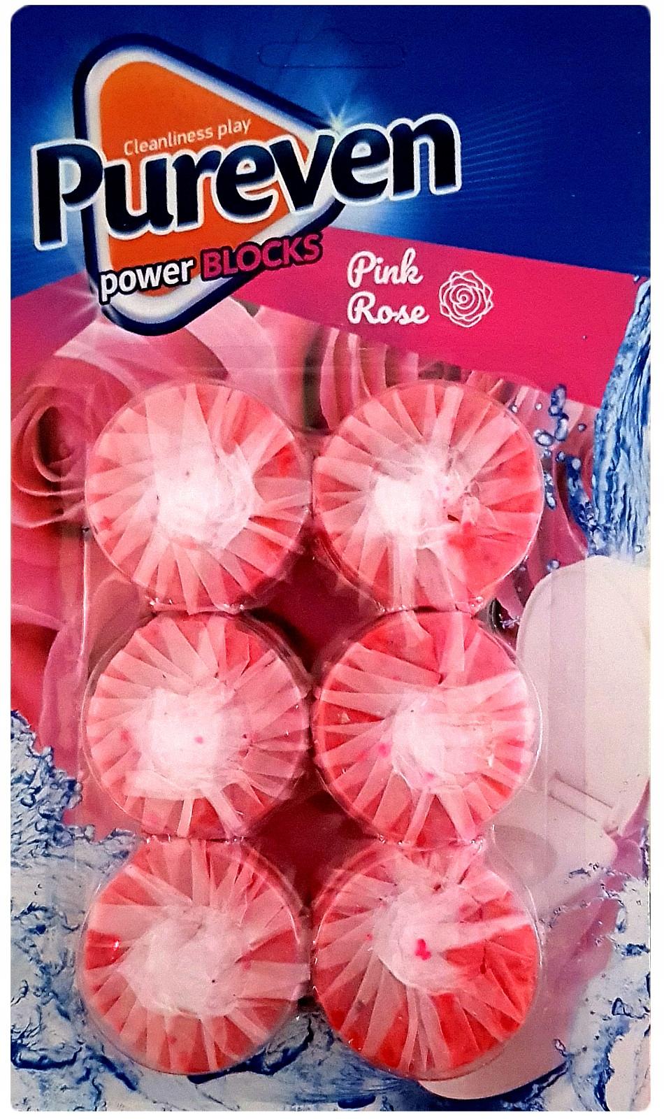 Pureven Pink Rose Кубов, Красящие Воду в ТУАЛЕТ 6шт