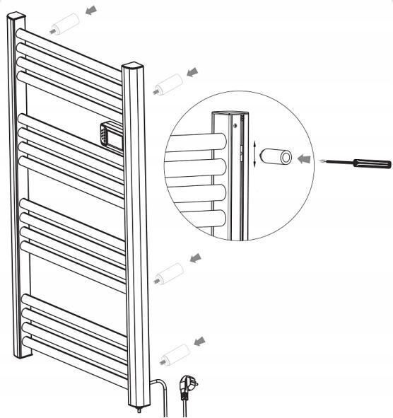 Grzejnik elektryczny łazienkowy drabinka 500W LED Rodzaj elektryczne
