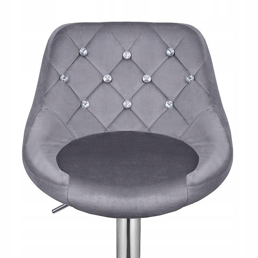 HOKER krzesło barowe WELUR REGULOWANE SZARE