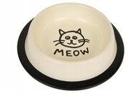 Миска металлическая на резине для кошек 0.24л крем
