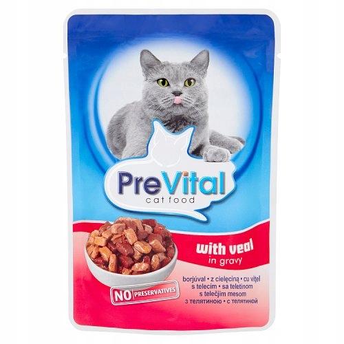 Karma KOTA SASZETKI MIX SMAKÓW Prevital + GRATIS Nazwa handlowa Karma dla kotów PreVital mix100 g (96 sztuk + 8 sztuk gratis)