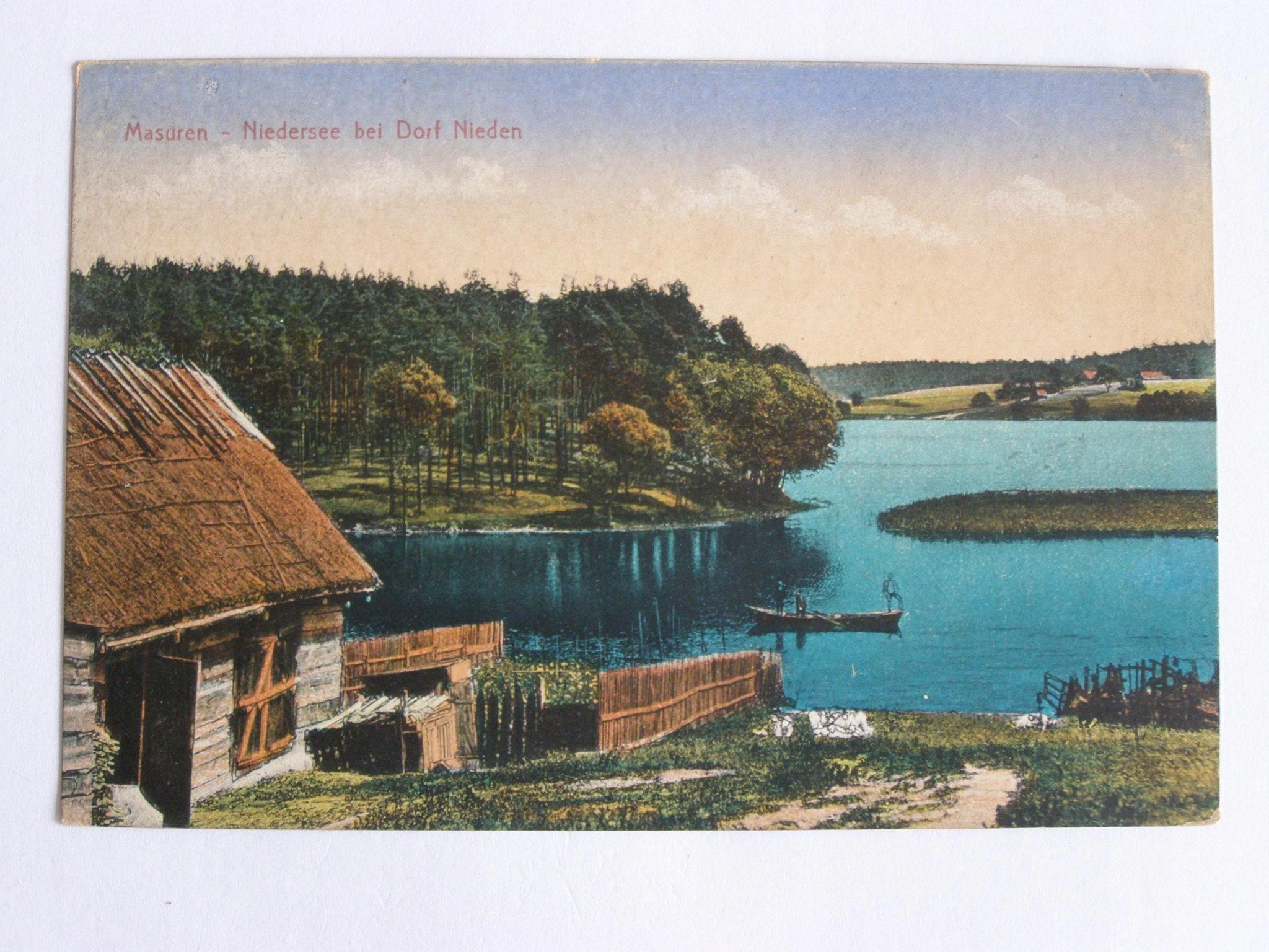 Озеро Нидзкие Мазурии, село Нида около 1915 г.