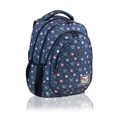 Tmavomodrý batoh s jemným korunovým vzorom bude prvým batohom do školy.  4 priehradky zaisťujú správne rozloženie hmotnosti a usporiadajú obsah batohu.