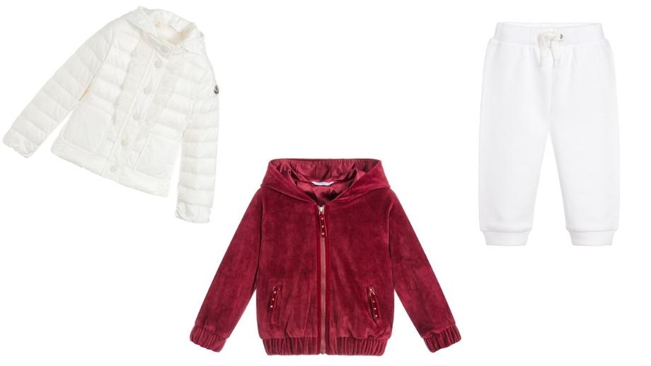1a05f405e8 Bluza z kapturem w burgundowym kolorze Bawełniane joggery w białym kolorze  Kurtka puchowa w białym kolorze