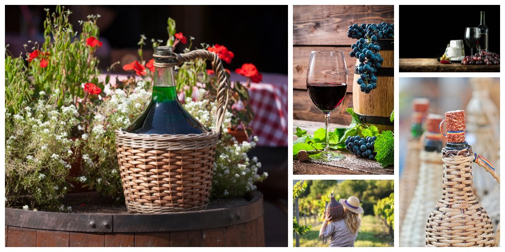 kolaz domowe wino z ciemnych winogron w balonie i kieliszku