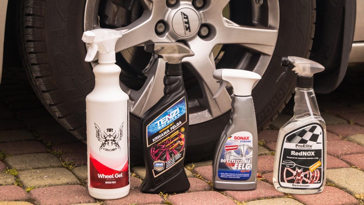 Test środków do czyszczenia felg: SONAX Xtreme, Tenzi Detailer Krwawa Felga, RR Custom Wheel Gel oraz ProElite RedNOX