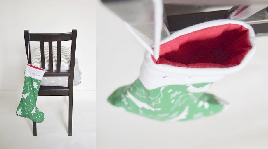Skarpeta na prezenty z wykrojem do pobrania – DIY