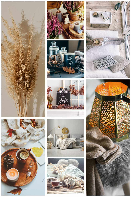 kolaz z jesiennych dekoracji do salonu ozdobna trwawa miekkie pledy puszyste poduszki pachnace swiece wrzosy w doniczkach