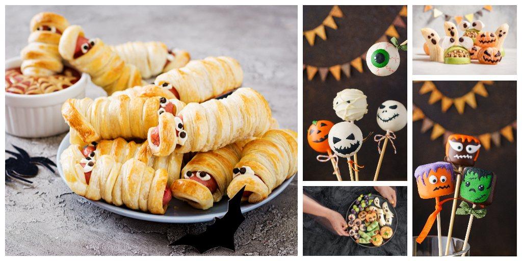 kolaz ze slodkich i slonych przekasek na halloween dla dzieci straszne lizaki cukierki oczy parowki mumie