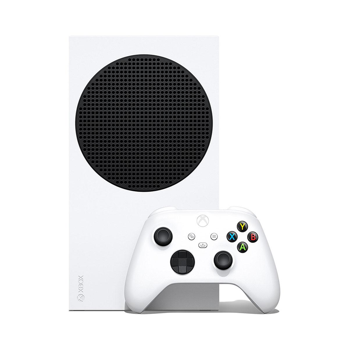 Xbox Series S z kontrolerem (padem) - widok z przodu