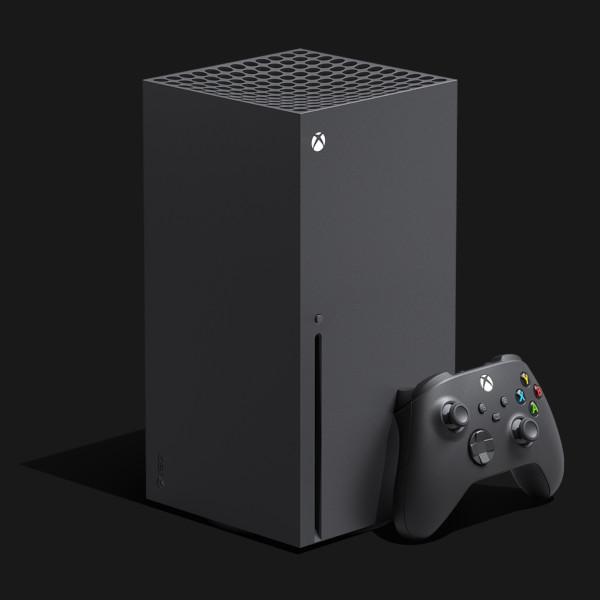 Xbox Series X z kontrolerem (padem) - widok z boku