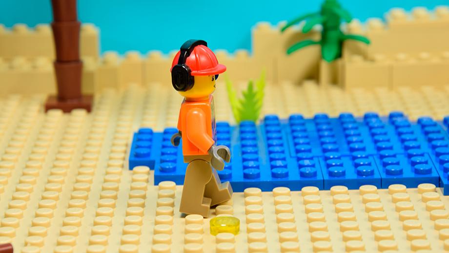 nastavenie rovnováhy figuríny Lego