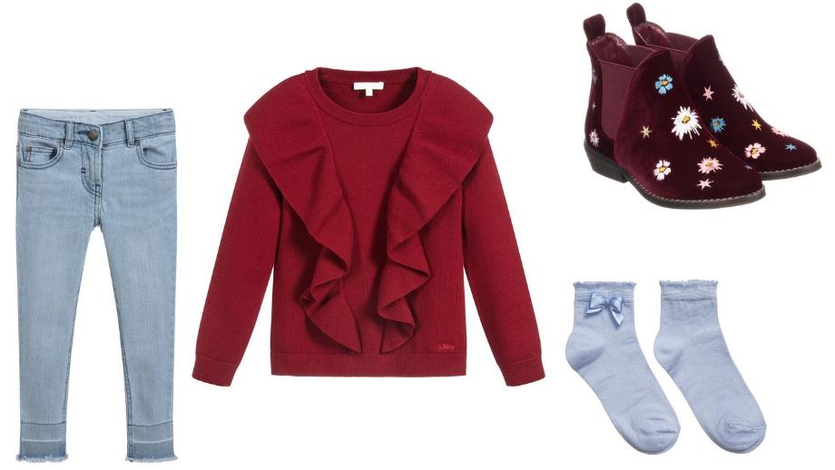 beb6792905 Spodnie jeansowe w niebieskim kolorze Sweterek w burgundowym kolorze Botki  bordowe Niebieskie skarpetki