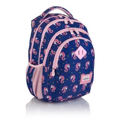 Námornícky batoh pre dievčatá do 1. triedy s jednorožcami Head HD-330.  Ďalšie priehradky, napríklad na notebook.  Svetloružové detaily dávajú ľahkosť a módny dizajn.