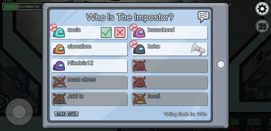 Głosowanie i ujawnienie Impostora w Among Us.