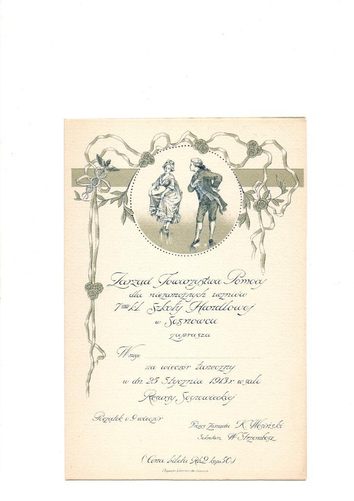 SOSNOWIEC - SZKOŁA HANDLOWA - ZAPROSZENIE - 1913 r