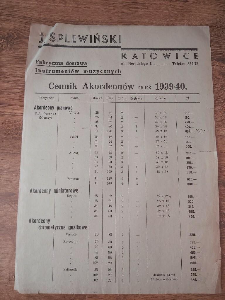 J. Splewiński cennik akordeonów 1939 r.