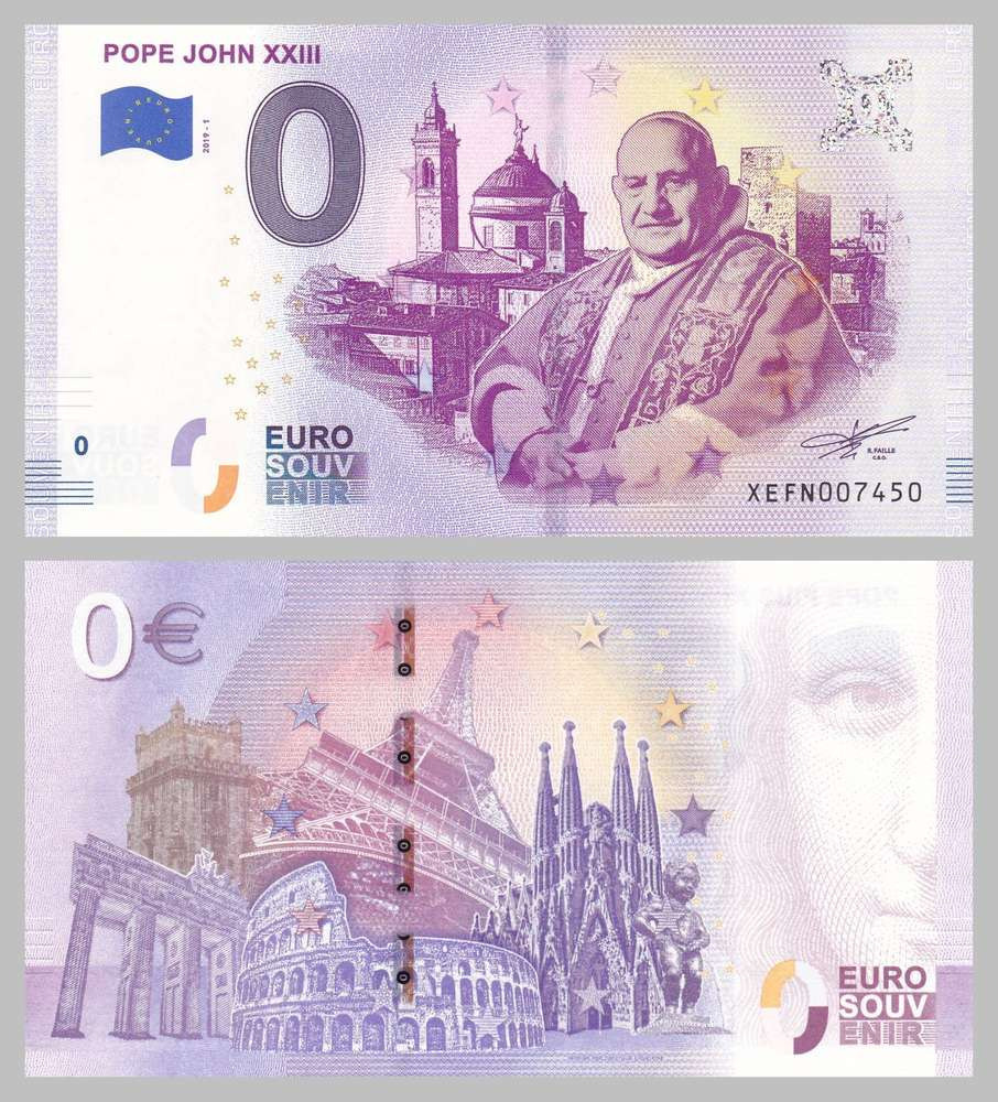 Komplet banknotów 0 Euro Jan 23 i Paweł 6