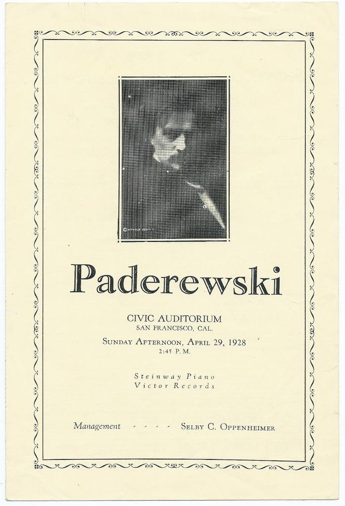 Koncert Paderewskiego w San Francisco 1928