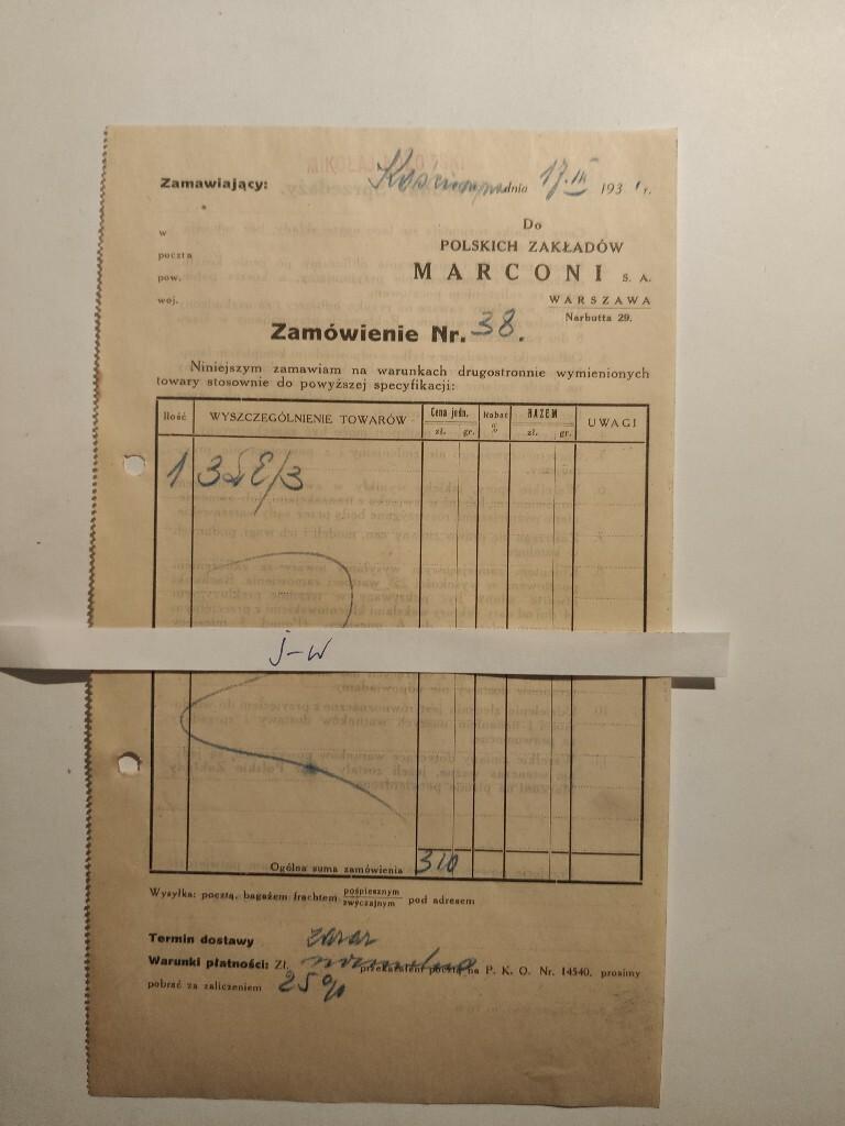 Zamówienie Polskie Zakłady MARCONI 1931
