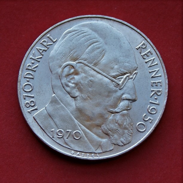 50 Schilingów 1970 r. - Renner  srebro