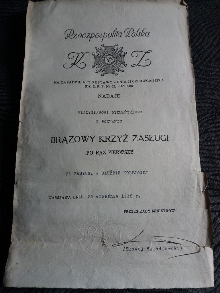 Item Making the Bronze cross of Merit in 1938