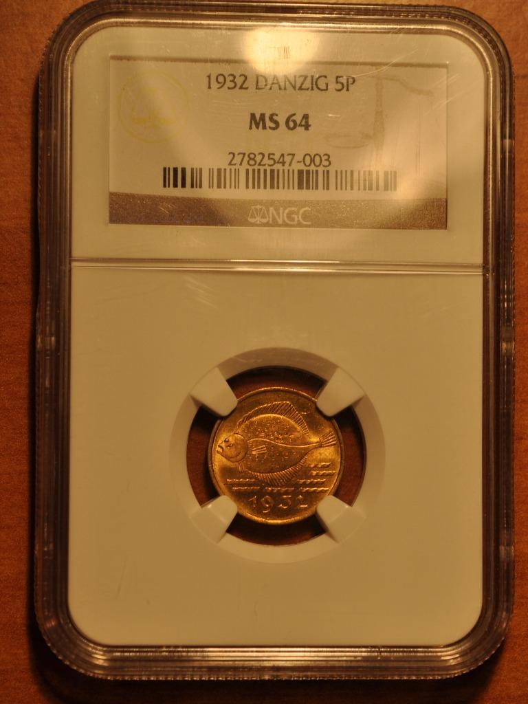 WMG 5 fenigów 1932 NGC MS64 Śliczne!