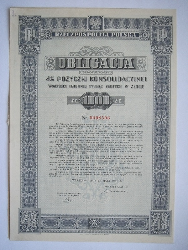КОНСОЛИДАЦИОННЫЕ ОБЛИГАЦИИ -1000 PLN- II RP 1936 г.