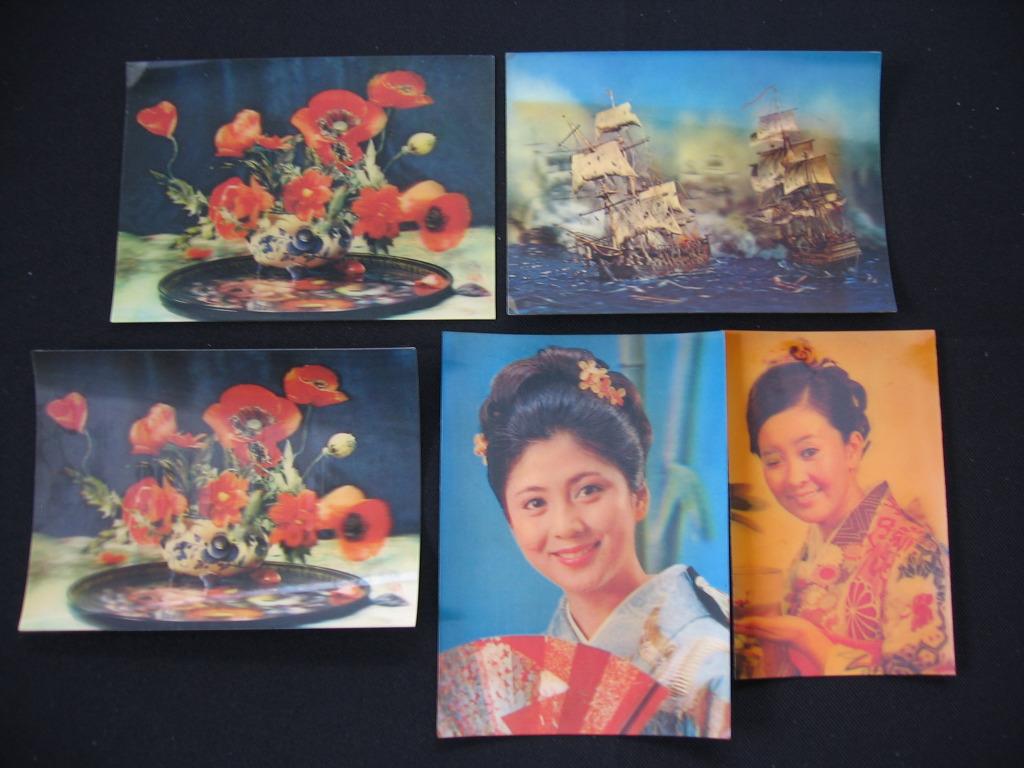 Pocztówki 3D zestaw 5 sztuk Rosja ZSSR Japonia